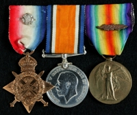 Frank Henry Adams : (L to R) 1914 Star with Rosette representing the clasp '5th Aug.-22nd Nov. 1914'; British War Medal; Allied Victory Medal with 'Mentioned in Despatches' oak leaves