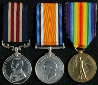 Harry Edwin Addy : (L to R) Military Medal; British War Medal; Allied Victory Medal