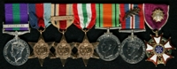 William Ernest Almond : (L to R) General Service Medal 1918-62 with clasp 'Palestine'; 1939-45 Star; Africa Star with clasp '1st Army'; Italy Star; 1939-45 Defence Medal; 1939-45 War Medal with 'Mentioned in Despatches' oak leaf; United States Legion of Merit
