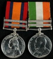 Alfred Flemming Archibald : (L to R) Queen's South Africa Medal with clasps 'Relief of Ladysmith', 'Belfast'; King's South Africa Medal with clasps 'South Africa 1901', 'South Africa 1902'