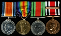 Albert Ashton : (L to R) British War Medal; Allied Victory Medal; 1939-45 Defence Medal; Special Constabulary Long Service Medal with clasp 'Long Service 1946'.