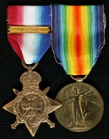 Gladstone Aspinall : (L to R) 1914 Star with clasp '5th Aug.-22nd Nov. 1914'; Allied Victory Medal