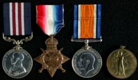 Alfred Angus Bain : (L to R) Military Medal; 1914-15 Star; British War Medal; Allied Victory Medal