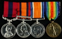 Alfred E. Ball : (L to R) Distinguished Conduct Medal; Queen's South Africa Medal with clasp 'Defence of Ladysmith'; British War Medal; Allied Victory Medal