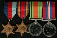 John Ball : (L to R) 1939-45 Star; Burma Star; 1939-45 Defence Medal; 1939-45 War Medal