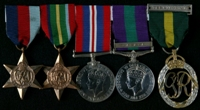 John Bevan Holderness Barratt : (L to R) 1939-45 Star; Pacific Star; 1939-45 War Medal; General Service Medal 1918-62 with clasp 'Malaya'; Efficiency Decoration