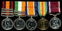 James Barratt : (L to R) Queen's South Africa Medal with clasps 'Cape Colony', 'Transvaal', 'Wittebergen'; King's South Africa Medal with clasps 'South Africa 1901', 'South Africa 1902'; British War Medal; Allied Victory Medal; Long Service and Good Conduct Medal