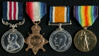 Joseph Batty : (L to R) Military Medal; 1914-15 Star; British War Medal; Allied Victory Medal