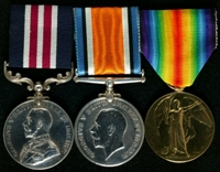 Arthur John Berry : (L to R) Military Medal; British War Medal; Allied Victory Medal
