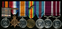 Haydn Bretton Whitaker : (L to R) Queen's South Africa Medal with clasps 'Cape Colony', 'Orange Free State', 'Transvaal', 'South Africa 1901', 'South Africa 1902'; 1914 Star with clasp '5th Aug.-22nd Nov. 1914'; British War Medal; Allied Victory Medal with 'Mentioned in Despatches' oak leaves; Delhi Durbar Medal 1911; Long Service and Good Conduct Medal; Meritorious Service Medal