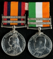 G. B. Caffrey : (L to R) Queen's South Africa Medal with clasps 'Natal', 'Belfast'; King's South Africa Medal with clasps 'South Africa 1901', 'South Africa 1902'
