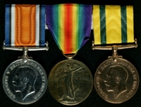 Robert Campbell : (L to R) British War Medal; Allied Victory Medal; Territorial Force War Medal