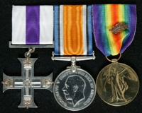 Arthur Aloysius Carberry : (L to R) Military Cross; British War Medal; Allied Victory Medal with 'Mentioned in Despatches' oak leaf