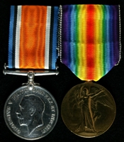 Joseph William Carruthers : (L to R) British War Medal; Allied Victory Medal