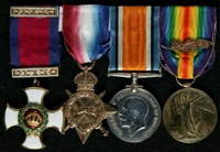 James Henry Chadwick : (L to R) Distinguished Service Order; 1914-15 Star; British War Medal; Allied Victory Medal with 'Mentioned in Despatches' oak leaves