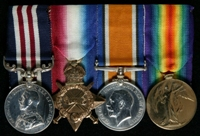 Eric Clampett : (L to R) Military Medal; 1914-15 Star; British War Medal; Allied Victory Medal