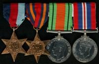 Frederick Conroy : (L to R) 1939-45 Star; Burma Star; 1939-45 Defence Medal; 1939-45 War Medal