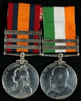 J. Dawber : (L to R) Queen's South Africa Medal with clasps 'Cape Colony', 'Orange Free State', 'Johannesberg'; King's South Africa Medal with clasps 'South Africa 1901', 'South Africa 1902'