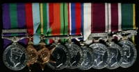 Peter Derbyshire : (L to R) General Service Medal 1918-62 with clasp 'Palestine'; 1939-45 Star; Pacific Star; 1939-45 Defence Medal; 1939-45 War Medal; 1977 Jubilee Medal; Long Service and Good Conduct Medal; Meritorious Service Medal; Efficiency Medal