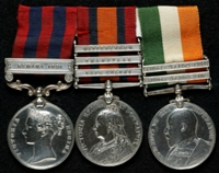 Charles Dickens : (L to R) India General Service Medal (1854) with clasp 'Samana 1891'; Queen's South Africa Medal with clasps 'Cape Colony', 'Transvaal', 'Wittebergen'; King's South Africa Medal with clasps 'South Africa 1901', 'South Africa 1902'