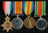 Samuel Doubleday : (L to R) 1914-15 Star; British War Medal; Allied Victory Medal; 1939-45 Defence Medal