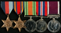 Henry Wilson Downey : (L to R) 1939-45 Star; Burma Star; 1939-45 Defence Medal; 1939-45 War Medal; Long Service and Good Conduct Medal