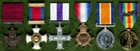 Wilfrith Elstob : (L to R) Victoria Cross; Distinguished Service Order; Military Cross; 1914-15 Star; British War Medal; Allied Victory Medal with 'Mentioned in Despatches' oak leaves