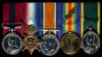 George Evans : (L to R) Distinguished Conduct Medal; 1914-15 Star; British War Medal; Allied Victory Medal with 'Mentioned in Despatches' oak leaves; Territorial Efficiency Medal