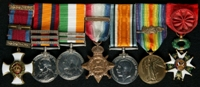 Wilfred Keith Evans : (L to R) Distinguished Service Order and Bar; Queen's South Africa Medal with clasps 'Cape Colony', 'Orange Free State', 'Transvaal'; King's South Africa Medal with clasps 'South Africa 1901', 'South Africa 1902'; 1914 Star with clasp '5th Aug.-22nd Nov. 1914'; British War Medal; Allied Victory Medal with 'Mentioned in Despatches' oak leaves; French Officier de l' Ordre National de la Legion d'Honneur