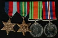 James Ralph Fish : (L to R) 1939-45 Star; Pacific Star; 1939-45 Defence Medal; 1939-45 War Medal