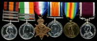 John Frederick Fitzgerald : (L to R) Queen's South Africa Medal with clasps 'Elandslaagte', 'Defence of Ladysmith', 'Belfast'; King's South Africa Medal with clasps 'South Africa 1901', 'South Africa 1902'; 1914 Star; British War Medal; Allied Victory Medal; Long Service and Good Conduct Medal