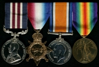 John Florandine : (L to R) Military Medal; 1914-15 Star; British War Medal; Allied Victory Medal