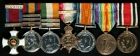 Alexander Gunning Foord : (L to R) Distinguished Service Order; Queen's South Africa Medal with clasps 'Cape Colony', 'Orange Free State', 'Transvaal'; King's South Africa Medal with clasps 'South Africa 1901', 'South Africa 1902'; 1914 Star with clasp '5th Aug.-22nd Nov. 1914'; British War Medal; Allied Victory Medal; Special Constabulary Long Service Medal