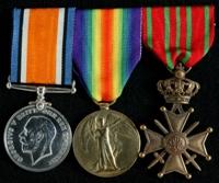 John William Gibson : (L to R) British War Medal; Allied Victory Medal; Belgian Croix de Guerre / Oorlogskruis