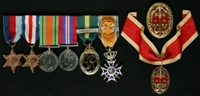 Douglas Glover : (L to R) 1939-45 Star; France and Germany Star; 1939-45 Defence Medal; 1939-45 War Medal; Efficiency Decoration; Dutch Officier in de Orde van Oranje-Nassau met de Zwaarden; Knight Bachelor's Breast Badge (top); Knight Bachelor's Neck Badge (on ribbon)