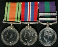 Kenneth Clarke Graham  : (L to R) 1939-45 Defence Medal; 1939-45 War Medal; General Service Medal 1918-62 with clasps 'Palestine 1945-48', 'Malaya'