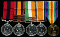 Edward Grant : (L to R) Distinguished Conduct Medal; Queen's South Africa Medal with clasps 'Elandslaagte', 'Defence of Ladysmith', 'Belfast'; King's South Africa Medal with clasps 'South Africa 1901', 'South Africa 1902'; British War Medal; Allied Victory Medal