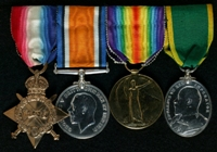 Albert Green : (L to R) 1914-15 Star; British War Medal; Allied Victory Medal; Territorial Force Efficiency Medal (with ribbon of Territorial Efficiency Medal)