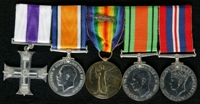 John James MacCurdy Greer : (L to R) Military Cross; British War Medal; Allied Victory Medal with 'Mentioned in Despatches' oak leaves; 1939-45 Defence Medal; 1939-45 War Medal