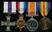 William Ernest James Hall : (L to R) Military Cross; 1914-15 Star; British War Medal; Allied Victory Medal