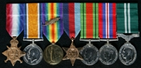 James Harrison : (L to R) 1914-15 Star; British War Medal; Allied Victory Medal with 'Mentioned in Despatches' oak leaves; 1939-45 Star; 1939-45 Defence Medal; 1939-45 War Medal; Air Efficiency Award