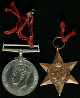 B. Harvey : (L to R) 1939-45 War Medal; 1939-45 Star