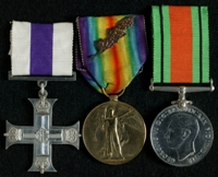 Handel Hassall : (L to R) Military Cross; Allied Victory Medal with 'Mentioned in Despatches' oak leaves; 1939-45 Defence Medal