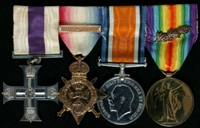 Clinton Delacherois Irwin : (L to R) Military Cross; 1914 Star with clasp '5th Aug.-22nd Nov. 1914'; British War Medal; Allied Victory Medal with 'Mentioned in Despatches' oak leaves