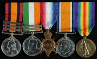 William Jack : (L to R) Queen's South Africa Medal with clasps 'Elandslaagte', 'Defence of Ladysmith', 'Belfast'; King's South Africa Medal with clasps 'South Africa 1901', 'South Africa 1902'; 1914-15 Star; British War Medal; Allied Victory Medal