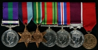 Edwin Sinkinson Jackson : (L to R) General Service Medal 1918-62 with clasp 'Palestine'; 1939-45 Star; Pacific Star; 1939-45 Defence Medal; 1939-45 War Medal; Long Service and Good Conduct Medal; 8th Battalion Shooting Medal