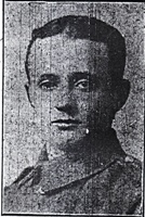 Harry Johnson : Photograph of Harry from the Ashton Reporter, 10th November 1917.  Held in Tameside Local Studies and Archives Centre.
