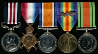 Patrick Joseph Kennedy : (L to R) Military Medal; 1914-15 Star; British War Medal; Allied Victory Medal with 'Mentioned in Despatches' oak leaves; 1939-45 Defence Medal