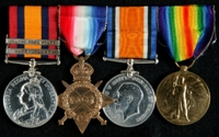 Joseph Harrison Kershaw : (L to R) Queen's South Africa Medal with clasps 'Cape Colony', 'Orange Free State'; 1914-15 Star; British War Medal; Allied Victory Medal