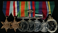 Patrick Arthur Vernon King-Farlow : (L to R) 1939-45 Star; France and Germany Star; 1939-45 Defence Medal; 1939-45 War Medal with 'Mentioned in Despatches' oak leaf; General Service Medal 1918-62 with clasp 'Malaya'; 1935 Jubilee Medal; Efficiency Decoration